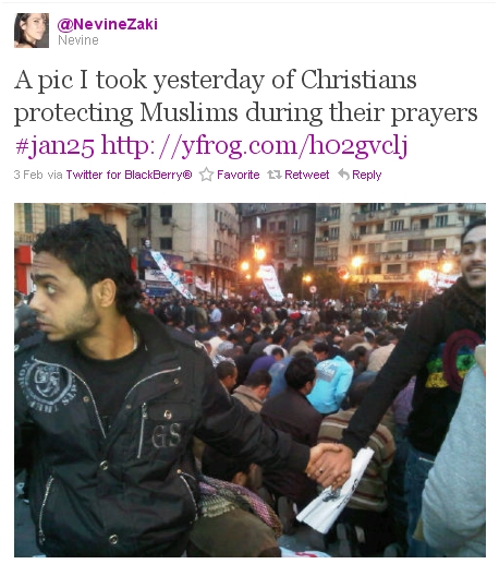 Coptic Christians forming a human shield around praying Muslims in Tahrir Square