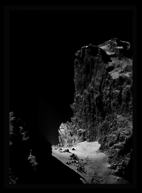 """The Cliffs of Churyumov-Gerasimenko: an enhanced and procosessed crop of an image from Rosetta's navcam."""